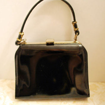 Vintage Black Patent Leather Purse Handbag Child's Size or Woman's Small Purse Retro