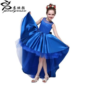 2017 New Arrive  Flower Girl Dresses High Low Scoop Sleeveless Hi Lo With Bow Back Satin Tulle Ball Gown Kids Wedding Party Gown
