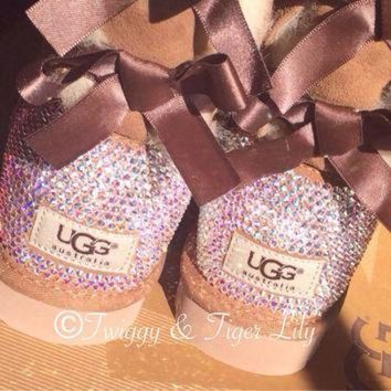 ICIK8X2 Swarovski Crystal Embellished Chestnut Bailey Bow Uggs - Chestnut Uggs with Bows and C