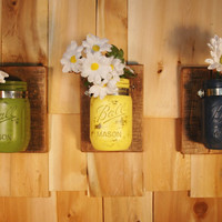 Brighter Days Wall Decor 3 pc Stained Finish Boards with Three Painted Mason Jars