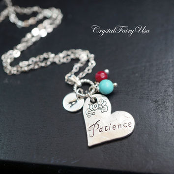 Memo Message Necklace - Initial Birthstone Necklace - Patience Charm Necklace -  Personalized  Silver Heart Necklace