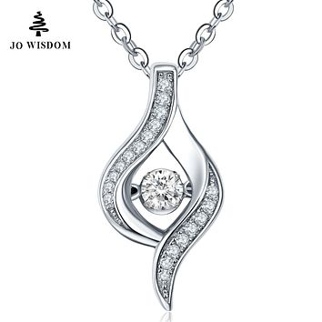 JO WISDOM Hot Sale Silver Necklaces for Women with Natural Topaz Dancing Stone Colar Kolye Silver Chain Best Gift