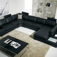T35 Black Leather Sectional With Headrests And Light