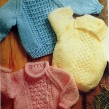 Baby Pullover Sweater Knitting Pattern Book Aran Cable Knit Unisex Infant XS S M L XL P206 Not a PDF