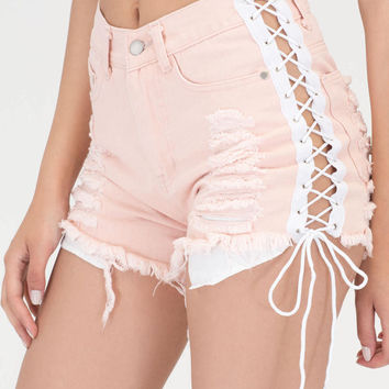 No Stress Distressed Lace-Up Shorts GoJane.com