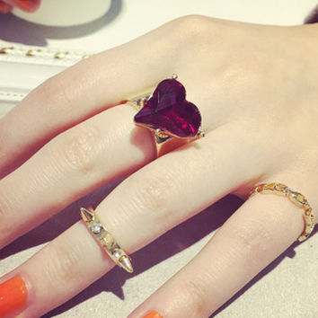 Gold Heart Stone and Stud Finger Ring Pack