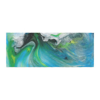 """Carol Schiff """"Turquoise And Green Abstract"""" Blue Teal Bed Runner"""