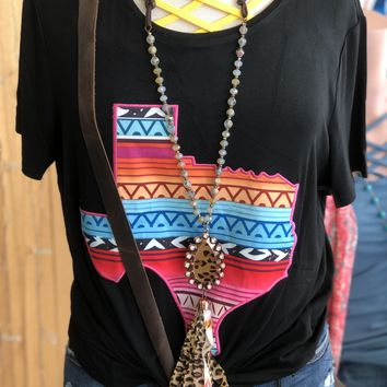 Beaded necklace w/ leopard pendant and tassel