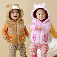 Fashion Baby Kids Cartoon Clothing Clothes Outwear Sleeveless Thicken Pile coating Cotton blended Autumn/Winter Waistcoat 2pcs/lot