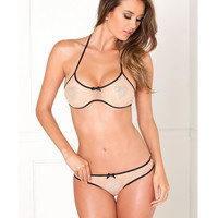 Rene Rofe 2pc Bra Set w/Shiny Hearts Nude
