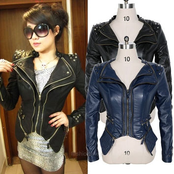 Hot Womens PU Leather Punk Spike Studded Shoulder Jacket Motorcycle Jacket Coat = 1902593348
