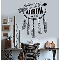 Vinyl Wall Decal Arrow Quote Feathers Ethnic Room Style Stickers Unique Gift (ig3889)