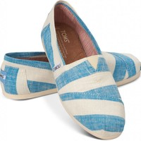 TOMS Blue & White Stripes Women's Classics Slip-On Shoes,