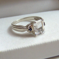 Emerald Cut Engagement Authentic Vintage Ring Sterling Genuine Gemstones Artisan Altered White Topaz Iolite Statement