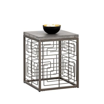 CORDEN GREY STAINLESS STEEL ANTIQUE BRASS END TABLE