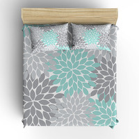 DUVET COVER, BEDDING Comforter, Pillow Sham, Pillow Case, Toddler, Twin, Queen, King, Aqua Gray Flower Burst, College Dorm, Girl Bedroom