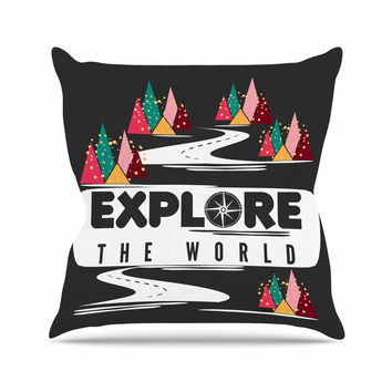 "Famenxt ""Explore the World"" Black White Outdoor Throw Pillow"