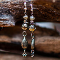 Lombok pearls and pyrite dangle earrings, Bali style - gift under 25 dollars #etsy #handmade #pyrite #pearls