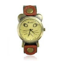 Cute Cat Face Leather Watch