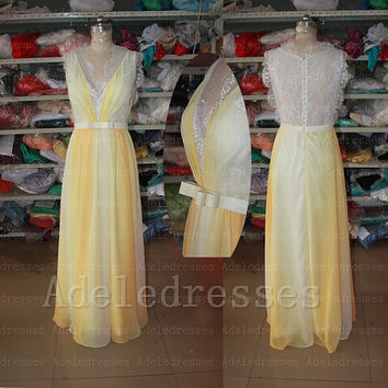 Fashion Lace Chiffon Yellow Ombre Prom Dress,Cap Sleeves Deep V Neck Long Prom Dress,See Through Prom Gown,Custom Made Ombre Evening Dress