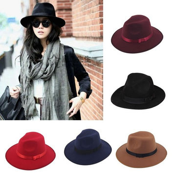 Cool 1pc Unisex Vintage Blower Jazz Hat Women/Men Casual Trendy Beach Sunhats Straw Panama cap Cowboy Fedora Gangster Cap with Black Ribbon = 1946621060