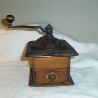 Rustic Cast Iron Dovetailed Wood Coffee Grinder 1930s 1940s