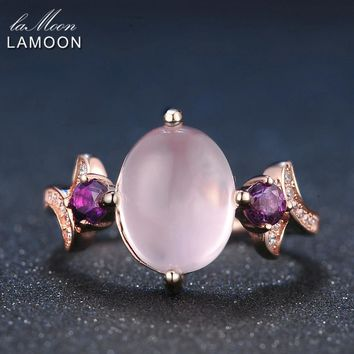 LAMOON 8x10mm 100% Natural Oval Pink Rose Quartz Ring 925 Sterling Silver Jewelry Rose Gold Romantic Wedding Band