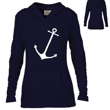 NattieDuds Original Clothing - Tilted Anchor Semi-Fitted Lightweight Pullover Hoodie - Ladies