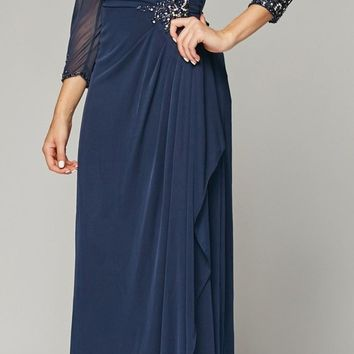 Blue embellished basque maxi dress