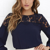 Picture This Navy Blue Long Sleeve Lace Top
