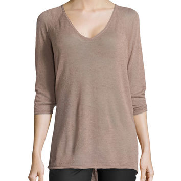 3/4-Sleeve High-Low Sweater, Mauve, Size: