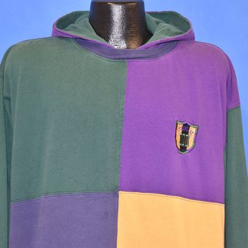 90s IOU Legendary Color Block Hoodie t-shirt Extra Large