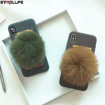 STROLLIFE Luxury Rabbit Fur Ball Phone Cases For iphone X 8 8Plus 7 7Plus 6 6S Case Fashion Retro Winter Warm Fuzzy Plush Cover