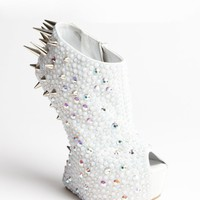 white suede crystal and spike studded platform peep toe pumps