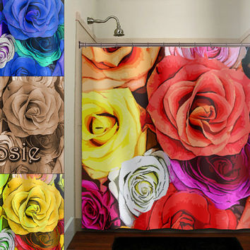 bouquet flower multi color floral roses shower curtain bathroom decor fabric kids bath white black custom duvet cover rug mat window