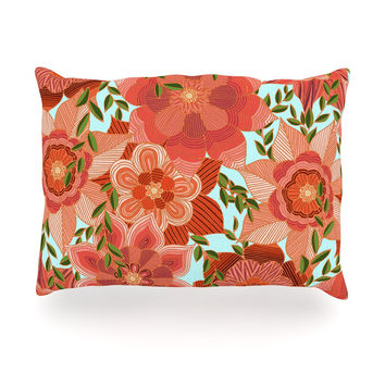 "Art Love Passion ""Flower Power"" Red Floral Oblong Pillow"