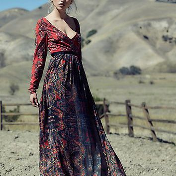 Free People Womens Saffron Printed Maxi