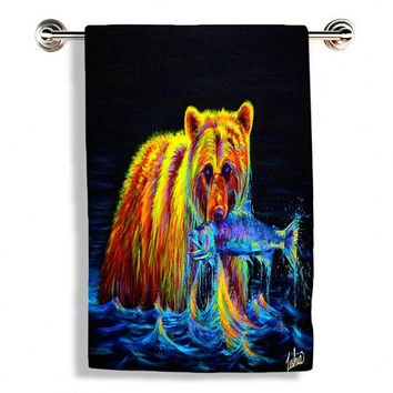 Colorful Grizzly Bear - Towel / Towel Set - Night of the Grizzly by Teshia