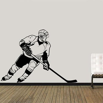 Hockey Wall Decal, Hockey Wall Stickers, Hockey Decor, Sports Room Decor, Kids Decor, Garage Wall Decal, Playroom Decal, Hockey stick/i19
