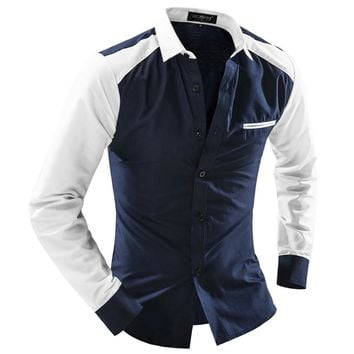 Men Shirt Long Sleeve Cotton Male Business Casual Splice Fashion Formal