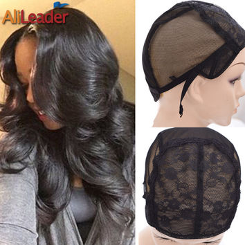 XL/L/M/S 4 Size Wig Caps For Making Wigs Super Wig Making Tools Lace Wig Cap With Adjustable Straps Flower Double Net in front