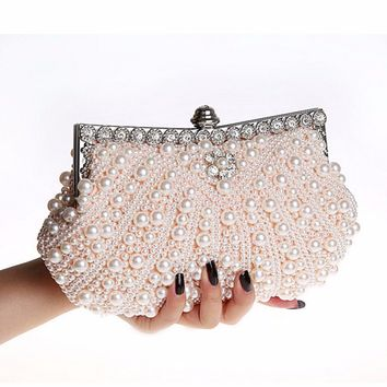 Aequeen Fashion Women Evening Bag Beaded Handbag Ladies Wedding Clutches Female Party Banquet Bags Chain Bolsas Feminina Pearl
