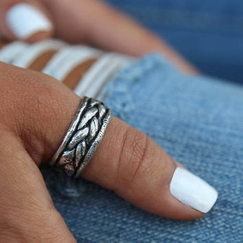Handmade Boho Sterling Silver Thumb Ring