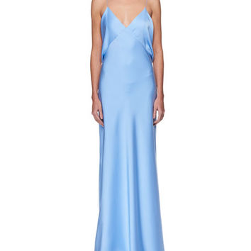 THE ROW Gran V-Neck Draped-Back Sleeveless Silk Evening Gown