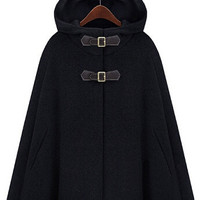 Black Buckle Closure Hooded Woolen Cape