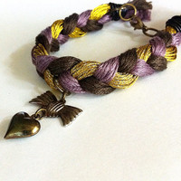 Purple and gold braided friendship bracelet, heart bracelet, braided bracelet, layering bracelet, stacking bracelet, boho bracelet, bow