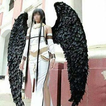 Black Large Adult Angel Feather Wings Cosplay Costume