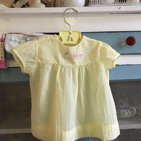 9 to 12 month old vintage yellow Easter dress/infant dresses/yellow vintage embroidered dress