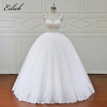 Eslieb 100% Real Photos Luxury Wedding Dresses Chapel Train Flowers Ball Gown Cap Sleeve Wedding Dress 2018 Vestido NM7001