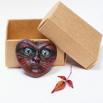 OOAK red heart pendant: Love Is Cat! Valentine's gift, one of a kind air dry clay cat portrait sculpture as a pendant, romantic art  jewelry